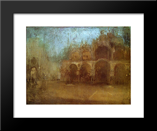 Nocturne: Blue And Gold ' St Mark'S, Venice: Modern Custom Black Framed Art Print by James McNeill Whistler