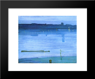 Nocturne: Blue And Silver ' Chelsea: Modern Custom Black Framed Art Print by James McNeill Whistler