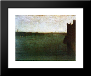 Nocturne: Grey And Gold: Modern Custom Black Framed Art Print by James McNeill Whistler