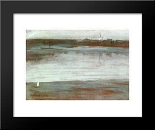 Symphony In Grey: Early Morning, Thames: Modern Custom Black Framed Art Print by James McNeill Whistler