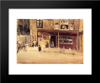 The Shop ' An Exterior: Modern Custom Black Framed Art Print by James McNeill Whistler