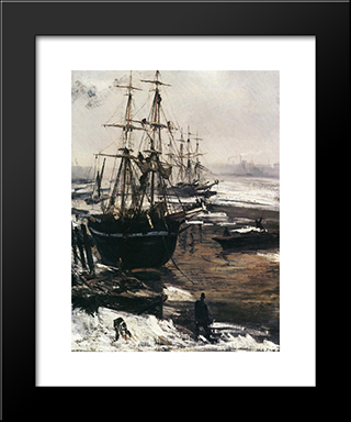 The Thames In Ice: Modern Custom Black Framed Art Print by James McNeill Whistler