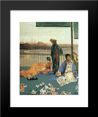 Variations In Flesh Colour And Green: The Balcony: Modern Custom Black Framed Art Print by James McNeill Whistler