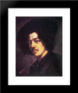 Portrait Of Whistler With Hat: Modern Custom Black Framed Art Print by James McNeill Whistler