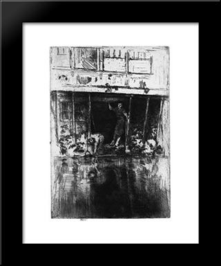 Pierrot (Oudezijds Achterburgwal): Modern Custom Black Framed Art Print by James McNeill Whistler
