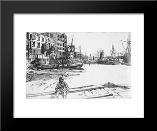 Eagle Wharf: Modern Custom Black Framed Art Print by James McNeill Whistler