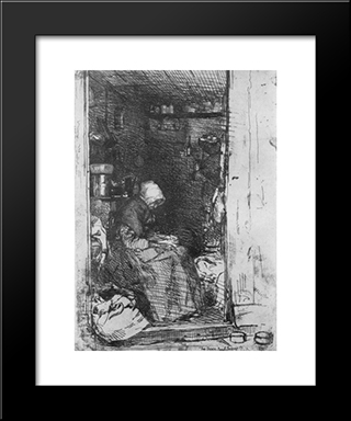 Old Woman With Rags: Modern Custom Black Framed Art Print by James McNeill Whistler