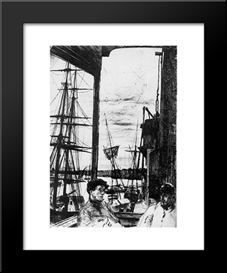 Rotherhithe: Modern Custom Black Framed Art Print by James McNeill Whistler