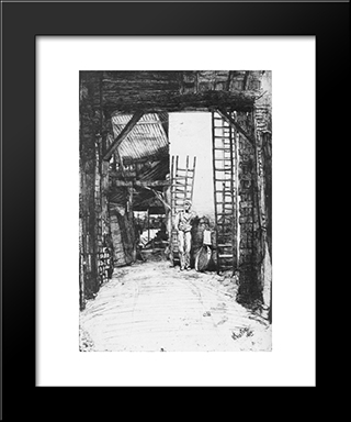 The Limeburner: Modern Custom Black Framed Art Print by James McNeill Whistler