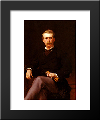 Portrait De John William Mackay (1831'1902): Modern Custom Black Framed Art Print by Alexandre Cabanel