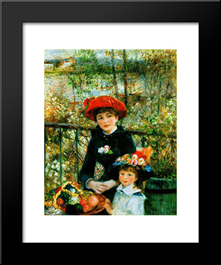 Two Sisters On The Terrace: Modern Custom Black Framed Art Print by Pierre Auguste Renoir