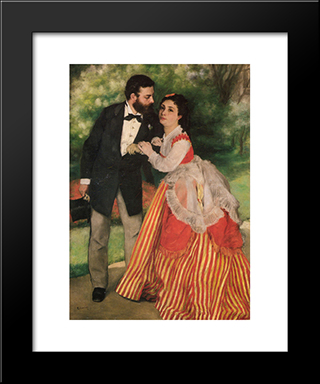 Portrait Of Alfred And Marie Sisley: Modern Custom Black Framed Art Print by Pierre Auguste Renoir
