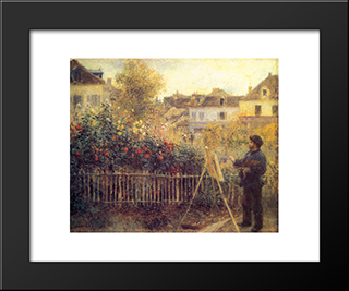 Claude Monet Painting In His Garden At Argenteuil: Modern Custom Black Framed Art Print by Pierre Auguste Renoir