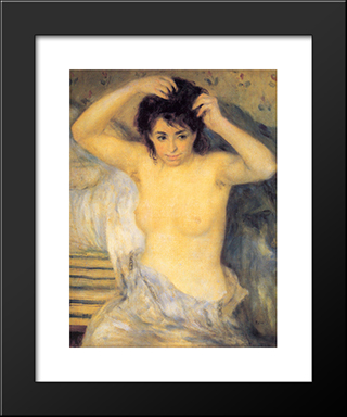 Torso: Before The Bath: Modern Custom Black Framed Art Print by Pierre Auguste Renoir