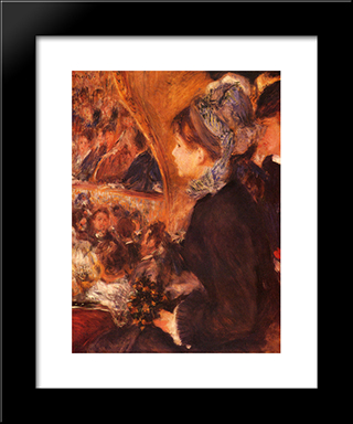 At The Theatre: Modern Custom Black Framed Art Print by Pierre Auguste Renoir