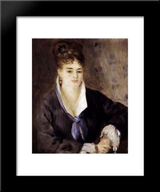 Woman In Black: Modern Custom Black Framed Art Print by Pierre Auguste Renoir