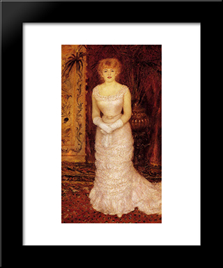 Portrait Of The Actress Jeanne Samary: Modern Custom Black Framed Art Print by Pierre Auguste Renoir