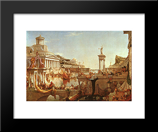The Course Of The Empire: The Consummation: Modern Custom Black Framed Art Print by Thomas Cole