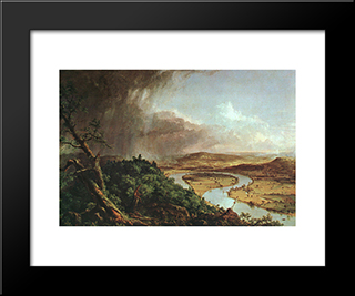 The Connecticut River Near Northampton: Modern Custom Black Framed Art Print by Thomas Cole
