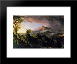 The Course Of The Empire: The Savage State: Modern Custom Black Framed Art Print by Thomas Cole