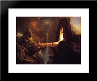 Expulsion ' Moon And Firelight: Modern Custom Black Framed Art Print by Thomas Cole