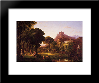 Dream Of Arcadia: Modern Custom Black Framed Art Print by Thomas Cole