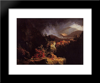 Gelyna (View Near Ticonderoga): Modern Custom Black Framed Art Print by Thomas Cole