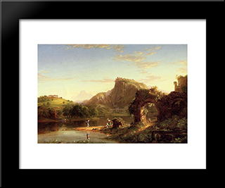 L'Allegro (Italian Sunset): Modern Custom Black Framed Art Print by Thomas Cole