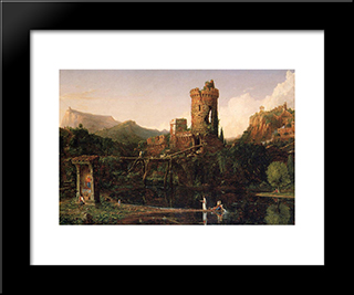 Landscape Composition: Italian Scenery: Modern Custom Black Framed Art Print by Thomas Cole