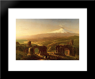 Mount Etna From Taormina: Modern Custom Black Framed Art Print by Thomas Cole