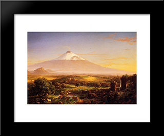 Mount Etna: Modern Custom Black Framed Art Print by Thomas Cole