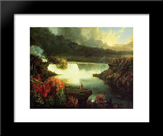Niagara Falls: Modern Custom Black Framed Art Print by Thomas Cole