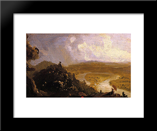 Sketch For 'View From Mount Holyoke, Northampton, Massachusetts, After A Thunderstorm' (The Oxbow): Modern Custom Black Framed Art Print by Thomas Cole