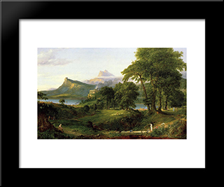 The Course Of Empire: The Arcadian Or Pastoral State: Modern Custom Black Framed Art Print by Thomas Cole
