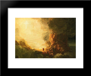 The Cross And The World: Study For 'The Pilgrim Of The Cross At The End Of His Journey': Modern Custom Black Framed Art Print by Thomas Cole