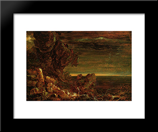 The Cross And The World: Study For 'The Pilgrim Of The World On His Journey': Modern Custom Black Framed Art Print by Thomas Cole