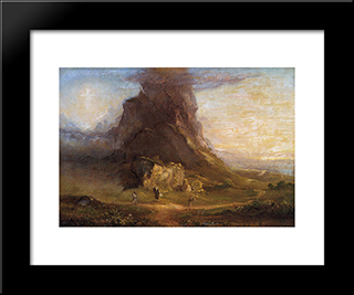 The Cross And The World: Study For 'Two Youths Enter Upon A Polgrimage': Modern Custom Black Framed Art Print by Thomas Cole