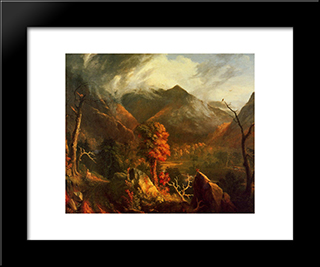 View In The White Mountains: Modern Custom Black Framed Art Print by Thomas Cole