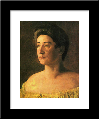 A Singer: Portrait Of Mrs. Leigo: Modern Custom Black Framed Art Print by Thomas Eakins