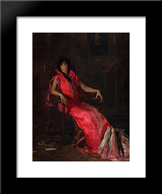 An Actress: Modern Custom Black Framed Art Print by Thomas Eakins