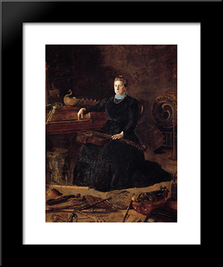 Antiquated Music: Modern Custom Black Framed Art Print by Thomas Eakins