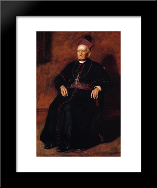 Portrait Of Archbishop William Henry Elder: Modern Custom Black Framed Art Print by Thomas Eakins