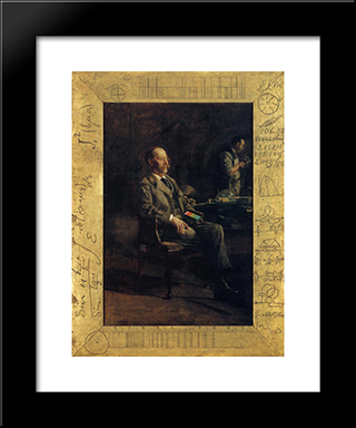Portrait Of Professor Henry A. Rowland: Modern Custom Black Framed Art Print by Thomas Eakins