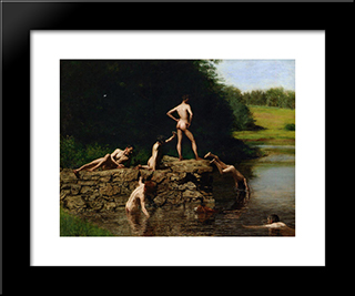 Swimming: Modern Custom Black Framed Art Print by Thomas Eakins