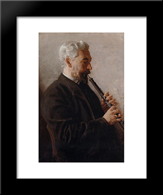 The Oboe Player: Modern Custom Black Framed Art Print by Thomas Eakins