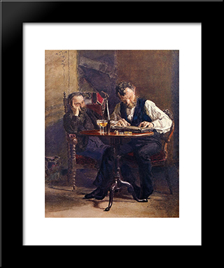 The Zither Player: Modern Custom Black Framed Art Print by Thomas Eakins