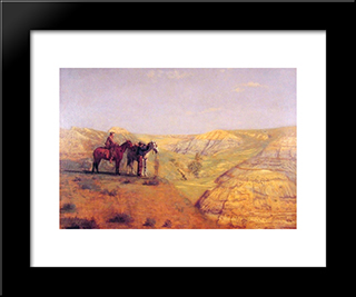Cowboys In The Badlands: Modern Custom Black Framed Art Print by Thomas Eakins