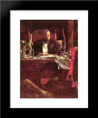 Professor Benjamin Howard Rand: Modern Custom Black Framed Art Print by Thomas Eakins