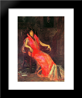 The Actress: Modern Custom Black Framed Art Print by Thomas Eakins