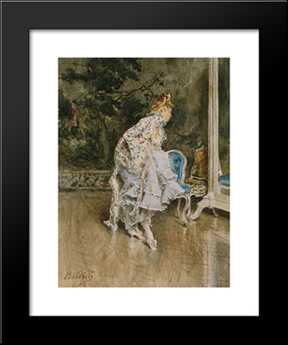 The Beauty Before The Mirror: Modern Custom Black Framed Art Print by Giovanni Boldini